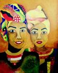 © Aicha Mohamed - 09/06/2013 Vibrant colourful African painting of Aicha and her sister Saddia