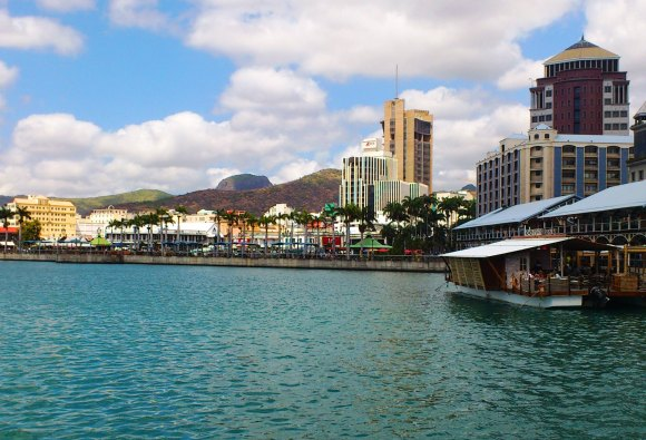 View of Port Louis from the Caudan Waterfront
